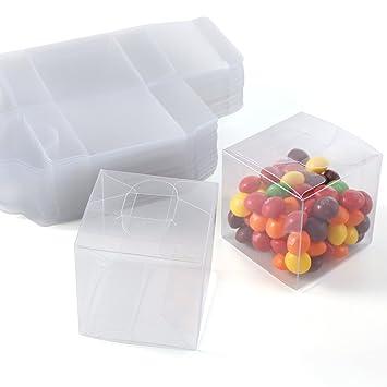 CLE DE TOUS - Set de 50/100 Cajas para dulces bombones Cajita cuadrada transparente