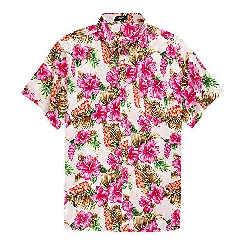 Men's Hawaiian Short Sleeve Shirt- MCEDAR Aloha Flower Print Casual Button Down Standard Fit Beach Shirts (XXX-Large, PINK)