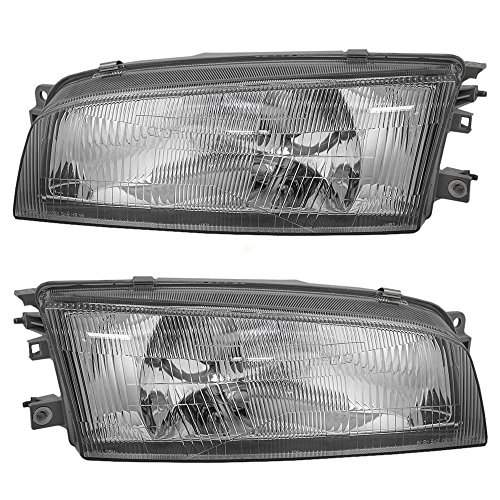 Driver and Passenger Headlights Headlamps Replacement for Mitsubishi MR476689 MR476690