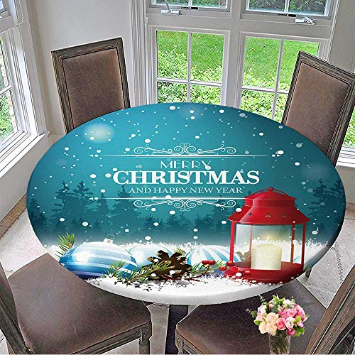 Mikihome Picnic Circle Table Cloths Christmas Greeting Card with red Lantern and Traditional Decorations at Night for Family Dinners or Gatherings 40