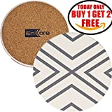 "Absorbent Coasters For Drinks, Grey-Lines On Ceramic Stone With Cork Backing - ""drink"" spills Coaster 2 Pack No Holder, Protect Furniture From Damage, SALE - Buy 1 Set Get 6 Pieces In Total"