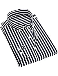 Men's Casual Long Sleeve Vertical Striped Slim Fit Dress Shirts
