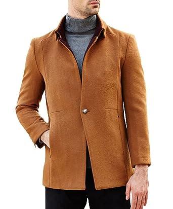 Uomo Cappotto Cappotti da Uomo Signori Ragazzi Caloroso Invernale Giacche  Di Lana Singolo Breasted Wool Blend Giacca Mens Casual Pea Coat Trench   Amazon.it  ... a55a567abb3
