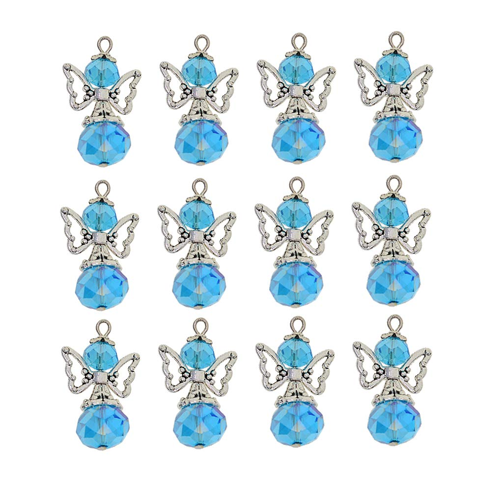 lemon yellow as described P Prettyia 12 Pieces Handmade Vintage Tibetan Silver Angel Wings Fairy Charms Pendants Facted Crystal Glass Beads fit Earring Necklace Choker Jewelry Making Gift