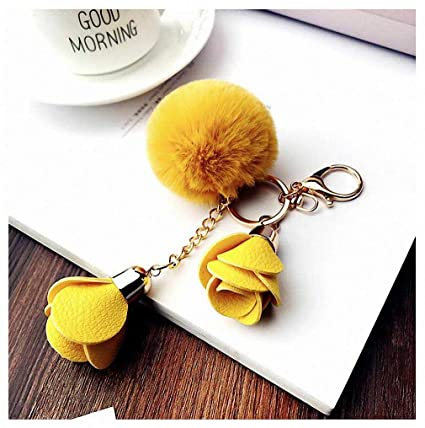 Amazon.com: Womens Flower Fur Pompom Keychain pom pom ...