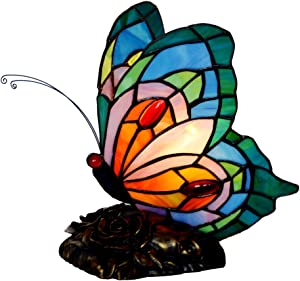 Bieye L10040 Butterfly Tiffany Style Stained Glass Accent Table Lamp, Night Light (Multi-Colored C)