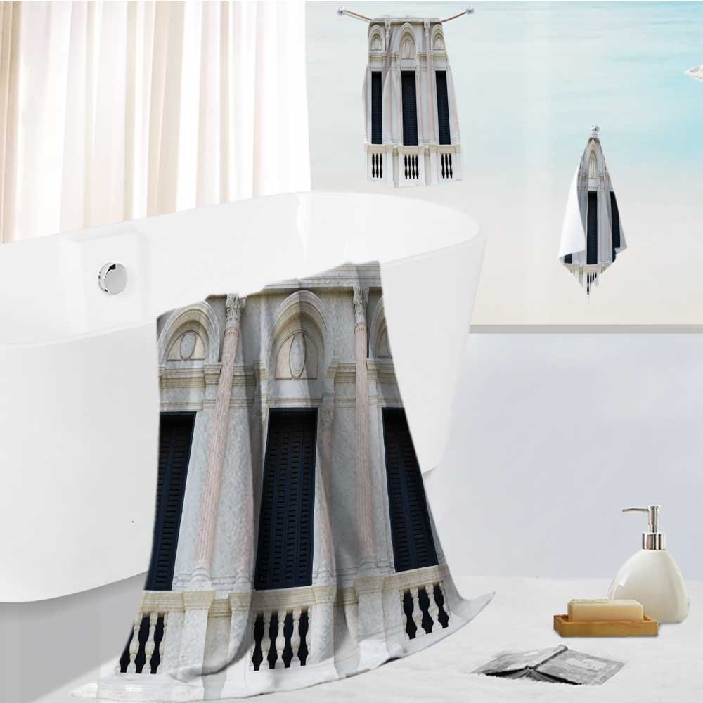 Printsonne Luxury 3-Piece 100% Combed Cotton Bath Towel Set european style arch window in the grand palace bangkok thailand Soft & Absorbent