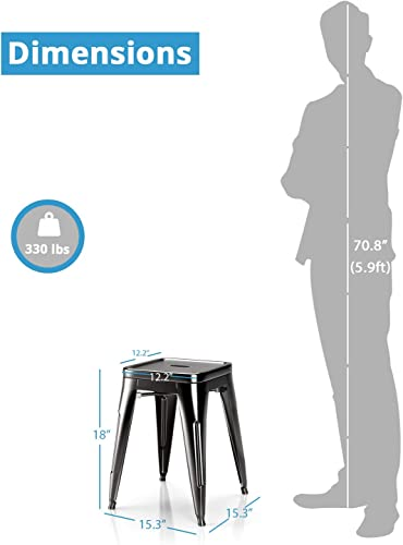 VIPEK 18 inch Metal Dining Chair Stool Set of 4 Backless Stackable Height Stools Patio Chairs Bistro Cafe Kitchen Island Dining Room Restaurant Trattoria Gaming