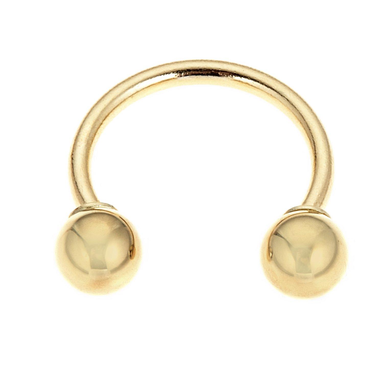Ritastephens 14k Solid Yellow Gold Eyebrow Circular Barbell HorseShoe Body Jewelry 16 Gauge