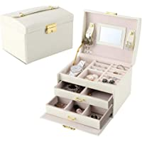 Lychee Jewelry orgnizer Beautiful Leather Jewelry Box Case Storage Organizer with Mirror Earring Necklace,Ring Display…