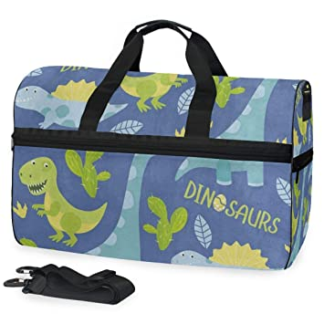 Giant Dinosaur Sports Gym Bag with Shoes Compartment Travel Duffel Bag for Men and Women