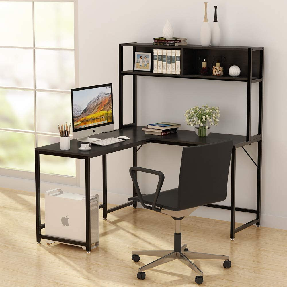 - L-Shaped Desk With Hutch,55