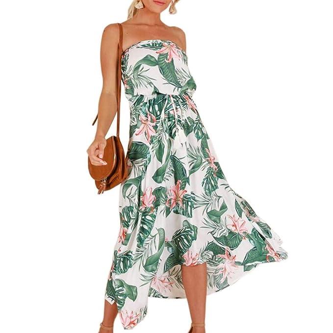c406ff8d13 Republe Le Donne Bohemian Lungo Abito con Stampa Floreale Foglia Ragazze  Bandeau Dress Beach: Amazon.it: Abbigliamento