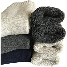 Mens Heavy Thick Wool Socks - Warm Comfort Crew Winter Socks (Pack of 3),Mixed Colors,One Size 7-12