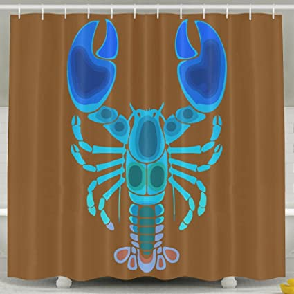 Shrimp Lobster Shower Curtain With Hooks 60x72inches