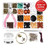 Jewelry Making Kit - DIY Beading Kits for Adults, Girls, Teens and Women. Includes Deluxe Beads & All Supplies for Making Necklace, Bracelet, Earrings & Instructions for Beginners - Ochre/Bronze
