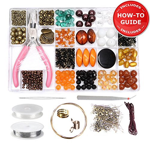 Jewelry Making Kit - DIY Beading Kits for Adults, Girls, Teens and Women. Includes Deluxe Beads & All Supplies for Making Necklace, Bracelet, Earrings & Instructions for Beginners - Ochre/Bronze by Modda