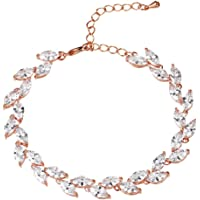 WeimanJewelry Silver/Gold/Rose Gold Plated Women Cubic Zirconia Marquise CZ Leaf Bridal Bracelet for Wedding Bride with a 1.9'' Extender