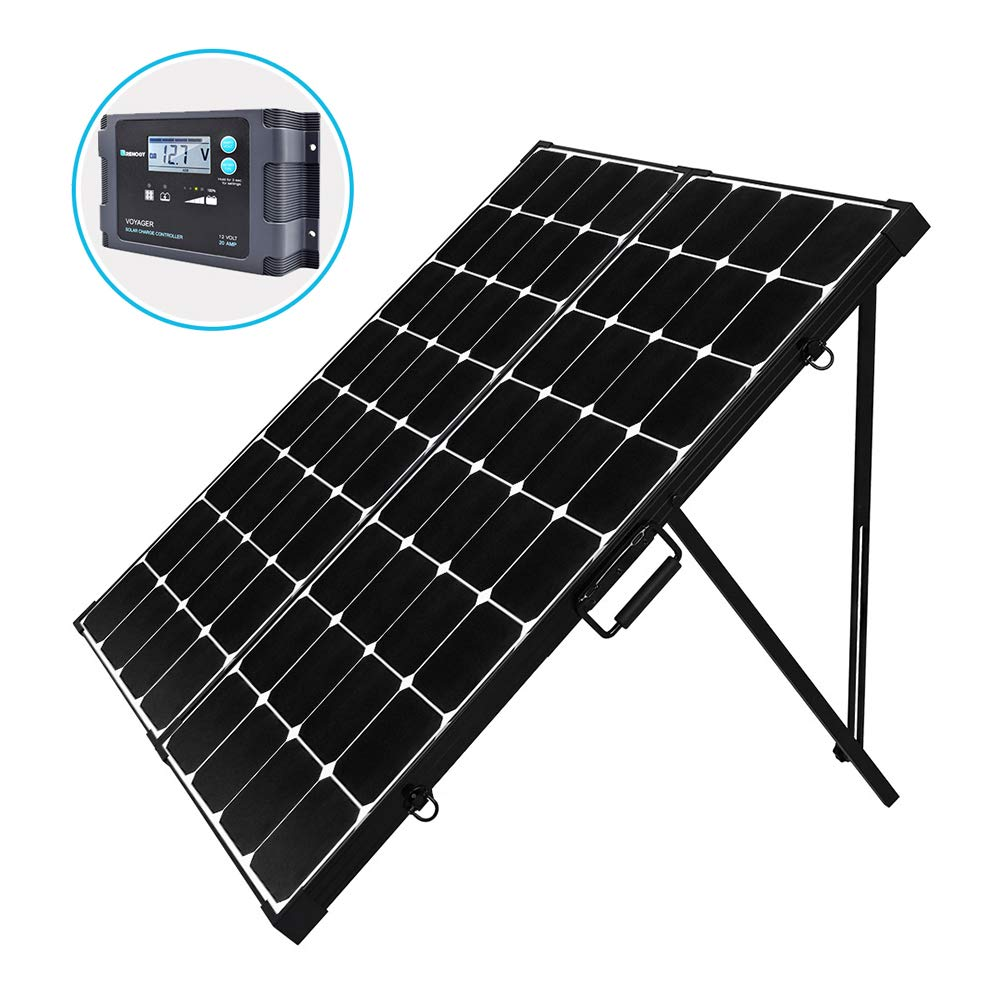 Renogy 200 Watt Off Grid Portable Foldable Solar Panel Suitcase Built-in Kickstand with Waterproof 20A Charger Controller, 200 Watt, black