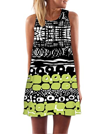5ba9faaa Women's Vintage Loose Sleeveless Mini Dress 3D Floral Printed Sundress Boho  Summer Casual Tank T-