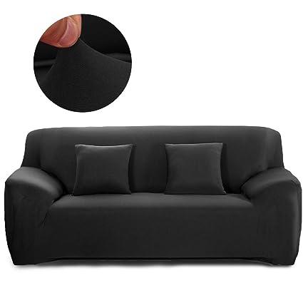 Cornasee Funda de sofá Elastica 2 plazas,Cubierta para sofá con Cuerda de fijación,Negro