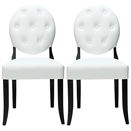 Modway Buttoned Ghost Chair In White Vinyl With Black Legs Set Of 2