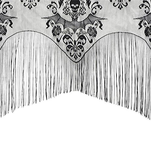 Xiaolanwelc@ Black Gothic Lace Tassel Skull Bat Valance Tulle Topper Shawl Fabric Tablecloth Halloween Haunted House Party Curtain 96.5 x 102 cm