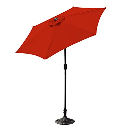 Incroyable Budge Aluminum Patio Umbrella With Crank Lift And Tilt Function, 7 Ft, Red