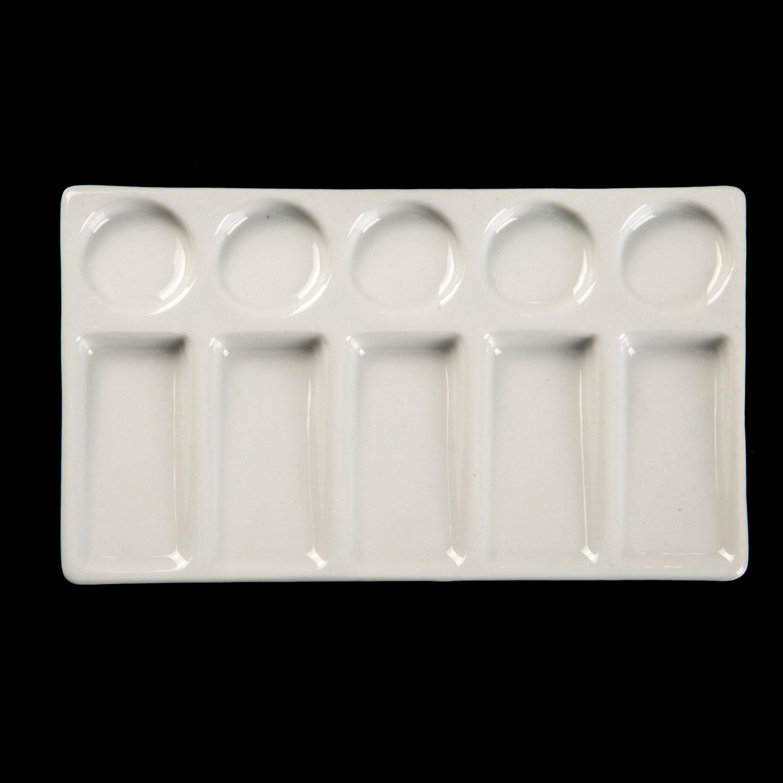 Meeden Palette de peinture en c/éramique 10 emplacements Forme rectangulaire pour aquarelle gouache