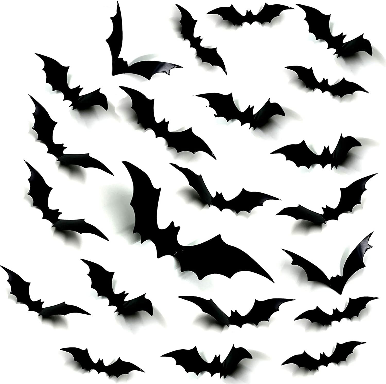 Halloween Bats Decorations, Oasisblossom 120Pcs Paper Bats Decals for Halloween Party Supplies Home Decor, Assorted Size 3D Decorative Scary Bats Stickers Wall Decals Window Stickers Halloween Decor