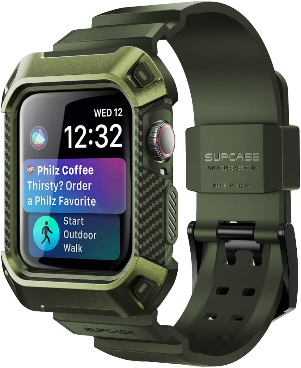 SUPCASE [Unicorn Beetle Pro] Designed for Apple Watch Series 6/SE/5/4 [44mm], Rugged Protective Case with Strap Bands(DarkGreen)
