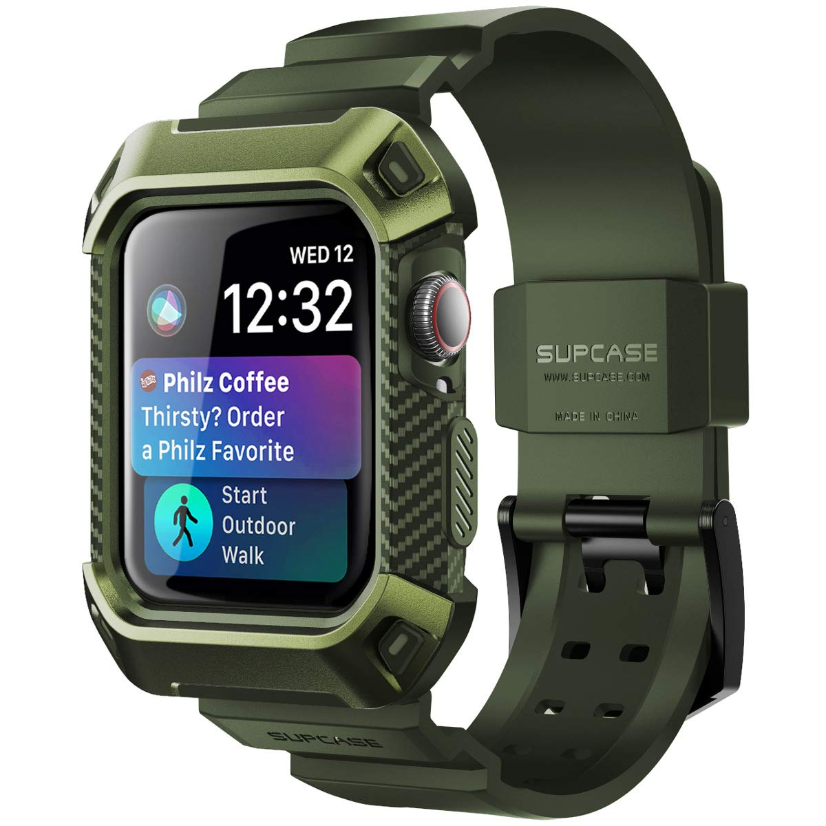 SUPCASE [Unicorn Beetle Pro] Rugged Protective Case for Apple Watch 4, with Strap Bands for Apple Watch Series 4 [44mm] 2018 Edition (DarkGreen)