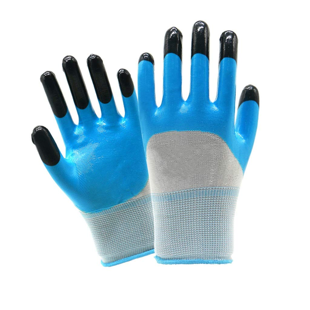 LZRZBH Industrial Gloves,Ideal for Auto Repair,Coated Nylon Work Gloves 12 Pairs, Knit Wrist Cuff, for Men and Women Gardening(Blue)