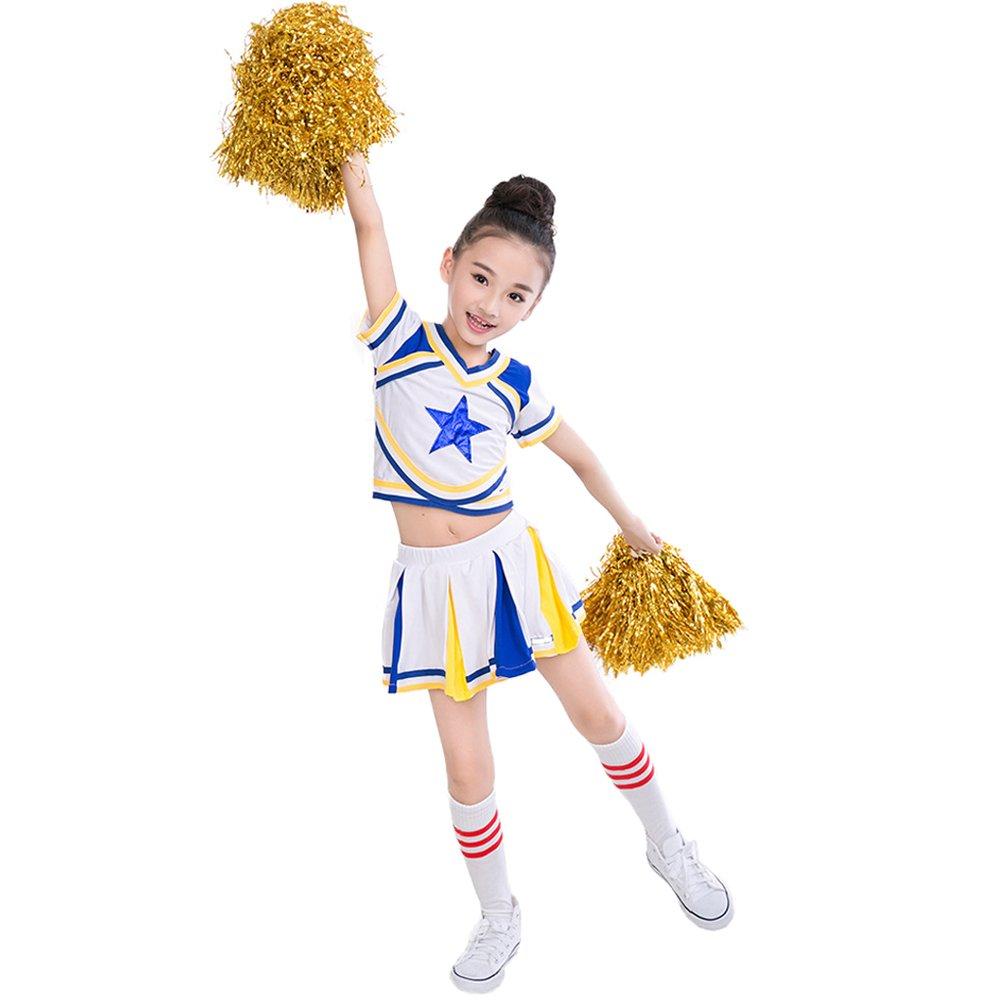 Uniforme tenue de pom-pom girl bleu + filles + chaussettes s'adapte à la robe de vêtements 3-15 ans .Ltd