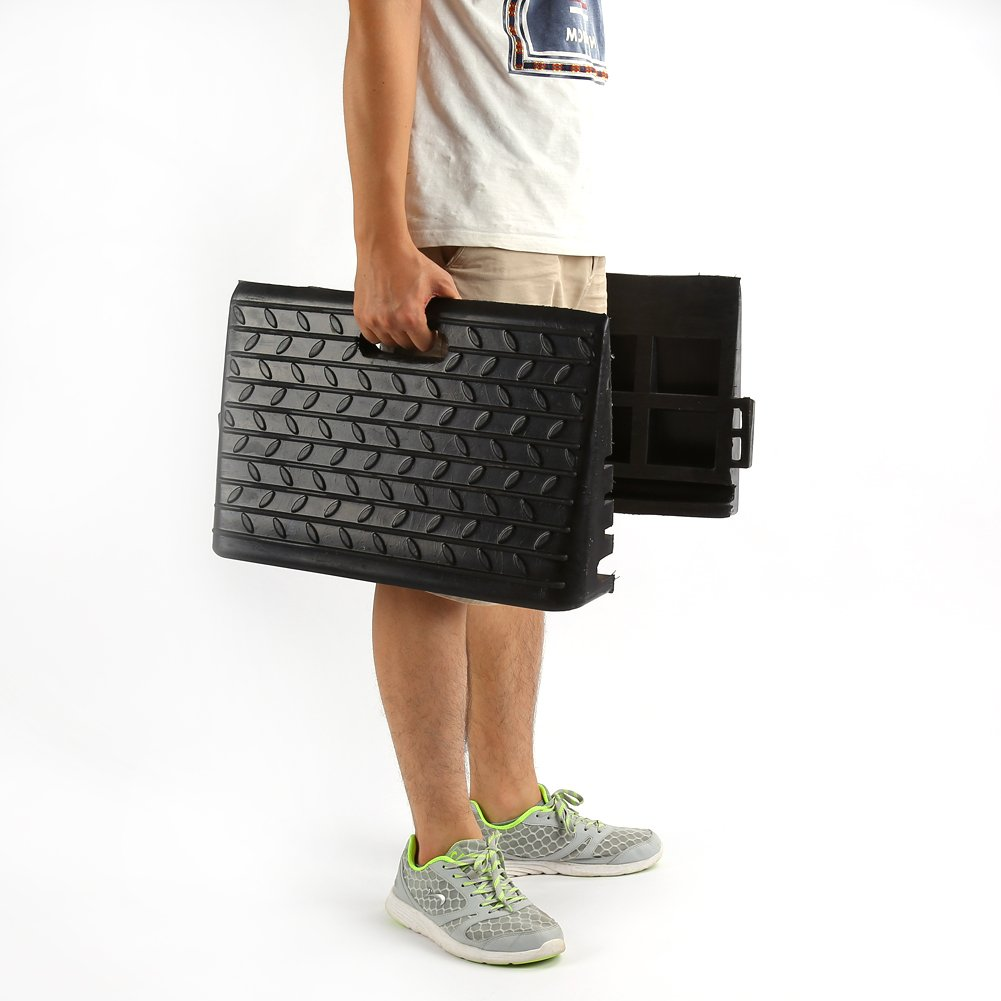 48,5 x 30 x 9,5 cm Rampa de coche de alta resistencia 2 unidades de rampas de goma negra port/átil con rastas antideslizantes para coches scooter caravana silla de acceso para discapacitados