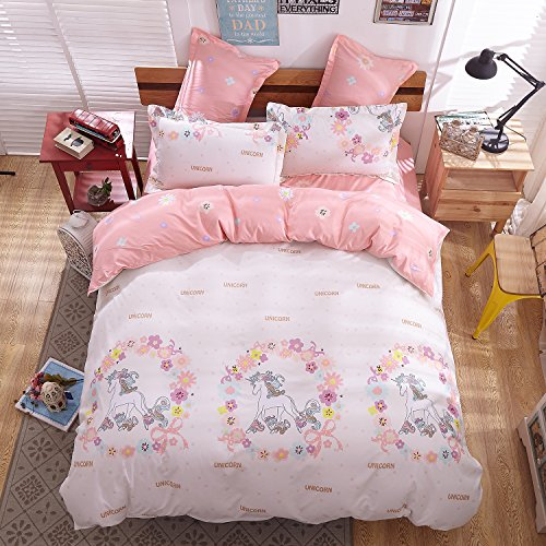Sheet pillowcase sets 4pcs magic unicorn print bedding - Drap housse king size ...