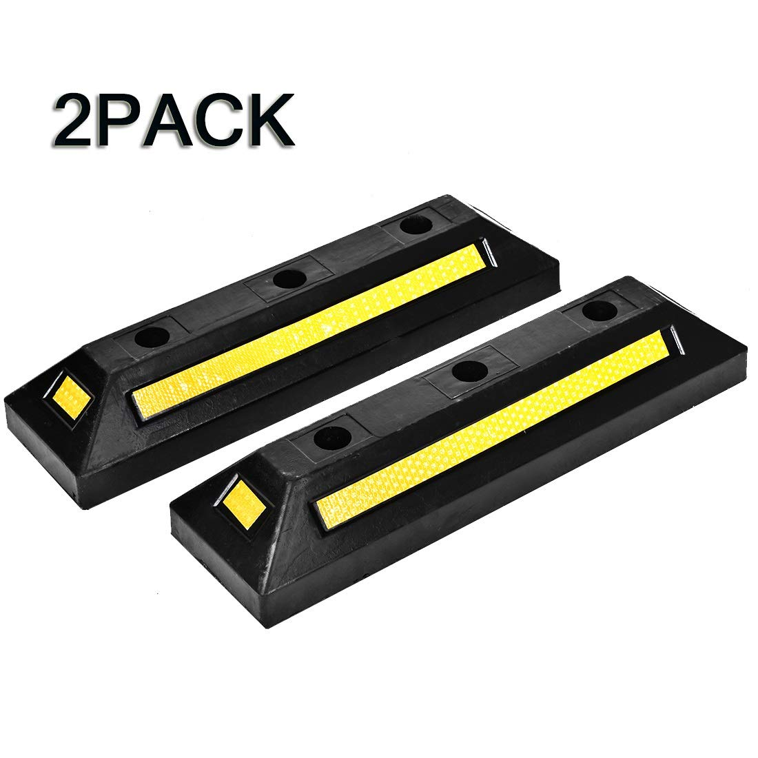 Grepatio Parking Stopper for Garage Floor, Heavy Duty Rubber Parking Guide Parking Curbs, Car Garage Wheel Stop Stoppers- 2 Pack Professional Grade 21.4'' x 5.9'' x 3.6'' by Grepatio