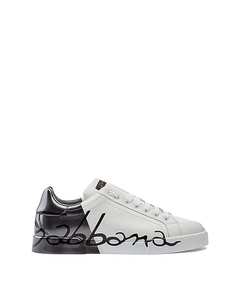 Dolce E Gabbana Sneakers Uomo Cs1600au7768s538 Pelle Argento Bianco   Amazon.it  Scarpe e borse 756be32ee7b