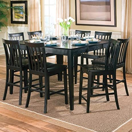 9pcs Contemporary Black Counter Height Dining Table u0026 8 Stools Set : kitchen table stools set - islam-shia.org