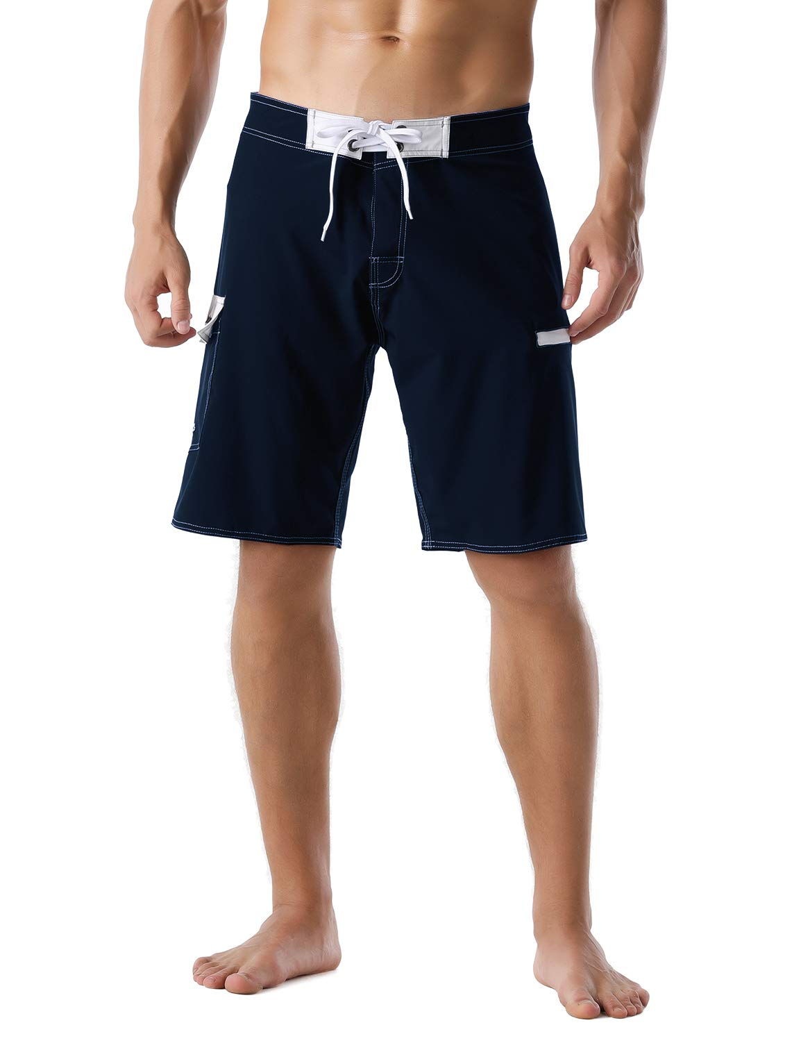 Nonwe Men's Swimming Shorts Quick Dry Summer Vacation Zipper Pocket Bathing Suit Navy 34 by Nonwe
