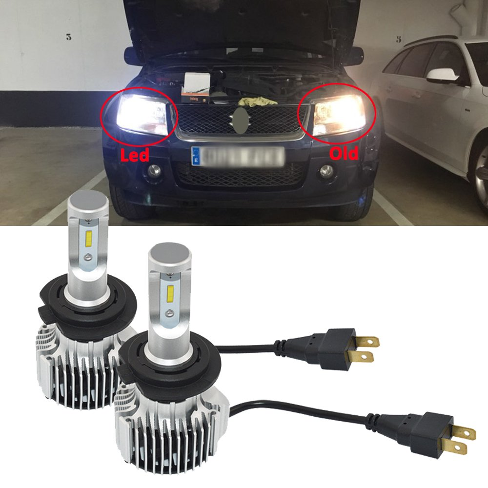 Amazon.com: NSLUMO LED Headlight Bulbs All-in-One Conversion Kit - H7 -8000Lm 6000K Cool White Led headlight lamp - 1 Year Warranty (H7): Automotive