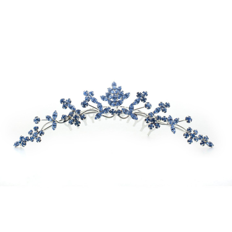 Kate Marie Rhinestone Tiara Hair Comb Crown in Blue