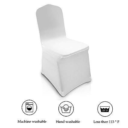 Amazon Com Modrine 100pcs White Chair Covers Spandex Lycra Metal