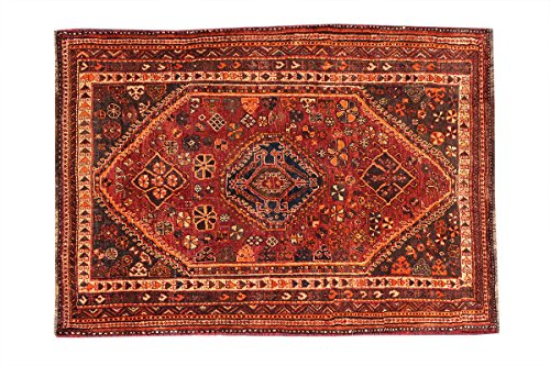 Brown Hand Knotted Wool - HeSamCrafts Red and Brown Hand Knotted Wool Area Rug, 4 Feet by 68 Feet (3'11 x 6'3) Traditional Rug, Geometric Pattern Area Rug, Code: 18031786