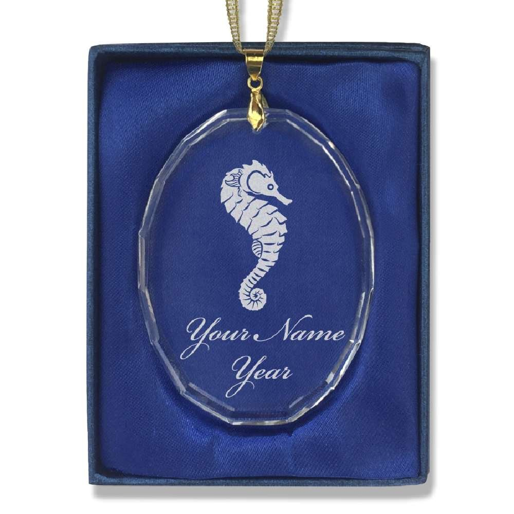 Oval Crystal Christmas Ornament - Seahorse - Personalized Engraving Included