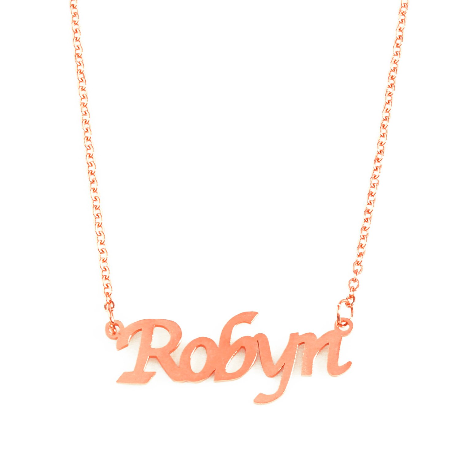 Zacria Robyn Name Necklace 18ct Rose Gold Plated
