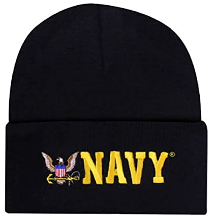 Blue Offically Licensed US USN Navy Eagle Embroidered Beanie Cap Stocking Hat Military