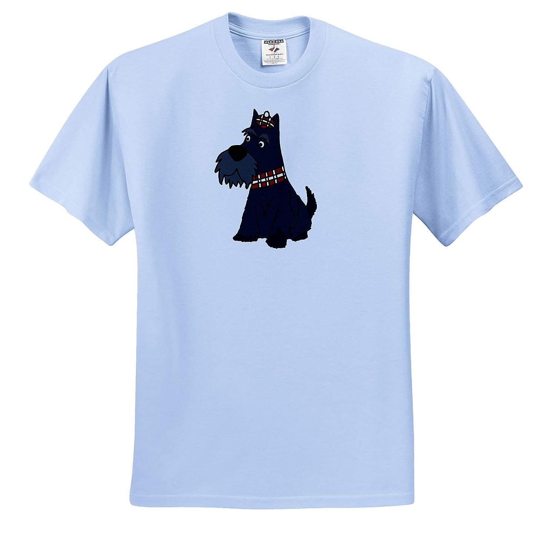 Pets 3dRose All Smiles Art Cute Funny Scottish Terrier Puppy Dog Scottie Cartoon T-Shirts