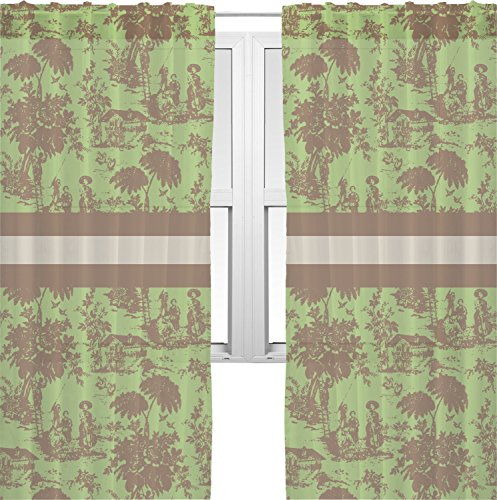 RNK Shops Green & Brown Toile Sheer Curtains - 60