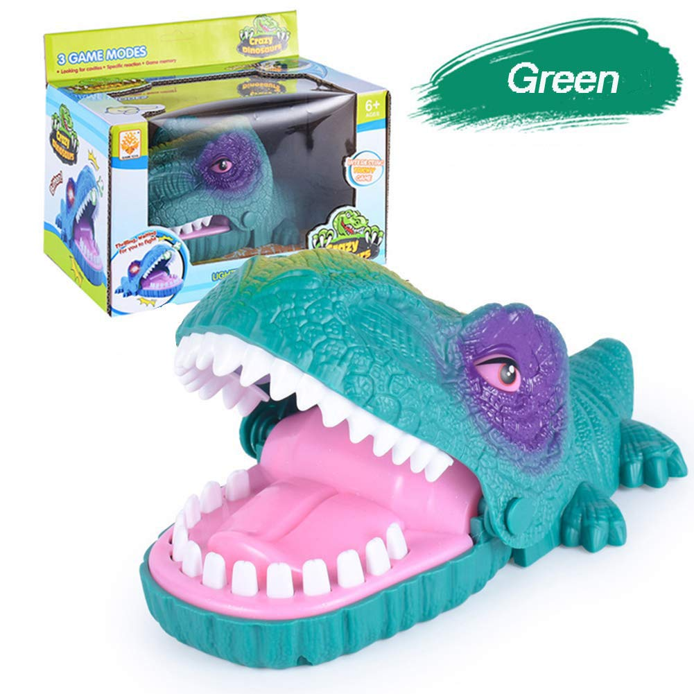 GRAWILLE Dinosaur Bite Finger Game Toy Dinosaur Dentist Funny Party Board Game Dinosaur Teeth Game Toy for Kids with LED Light and Sound (Green) by GRAWILLE